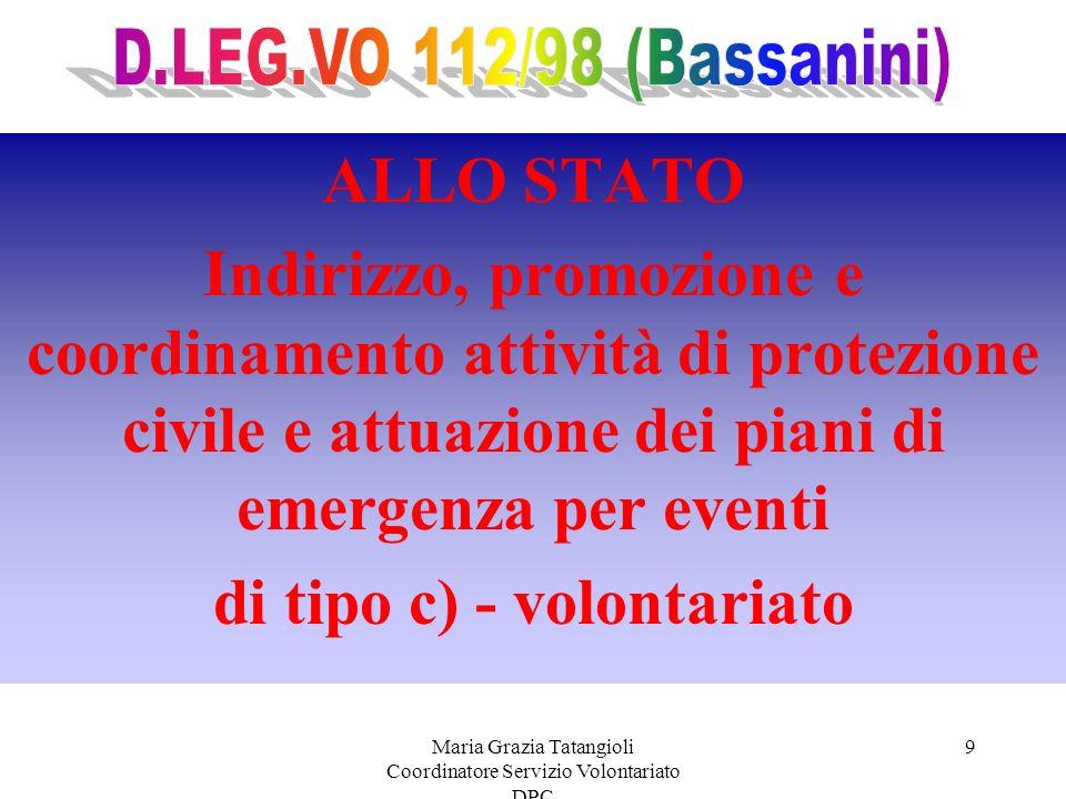 Maria Grazia Tatangioli Coordinatore Servizio Volontariato DPC 9 ALLO STATO Indirizzo, promozione e coordinamento attività di protezione civile e attuazione dei piani di emergenza per eventi di tipo c) - volontariato