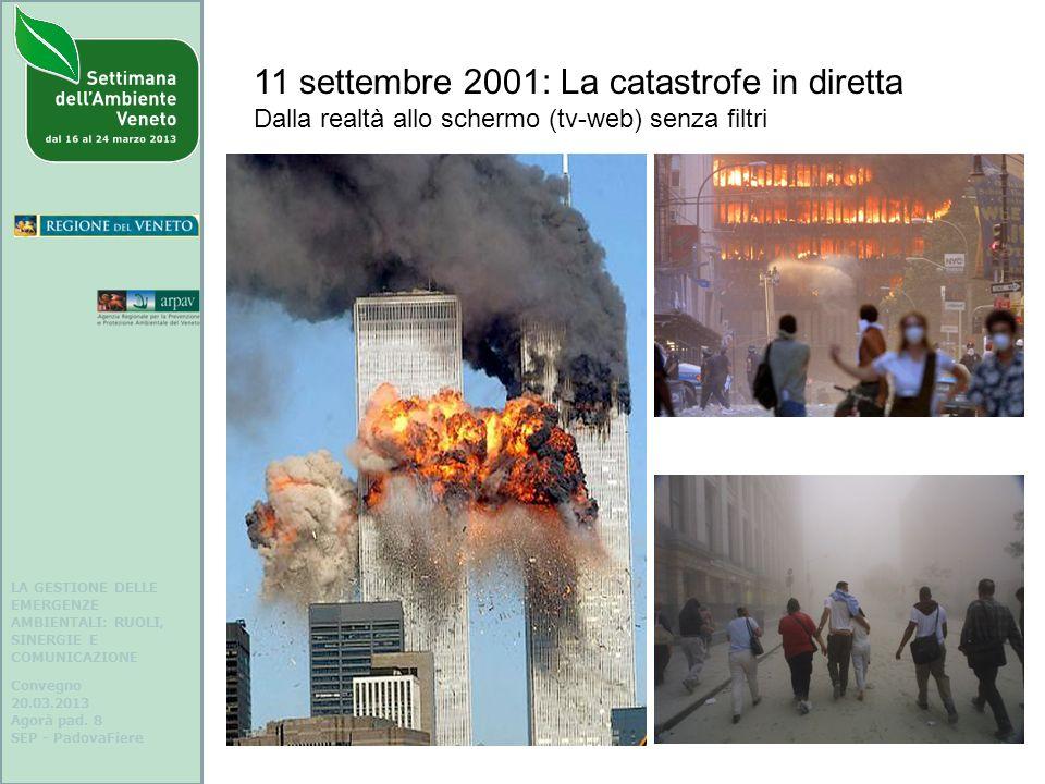 LA GESTIONE DELLE EMERGENZE AMBIENTALI: RUOLI, SINERGIE E COMUNICAZIONE Convegno 20.03.2013 Agorà pad. 8 SEP - PadovaFiere 11 settembre 2001: La catas