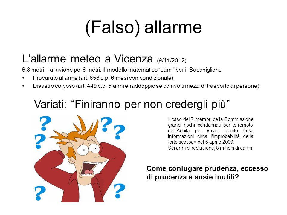 (Falso) allarme Lallarme meteo a Vicenza (9/11/2012) 6,8 metri = alluvione poi 6 metri. Il modello matematico Lami per il Bacchiglione Procurato allar