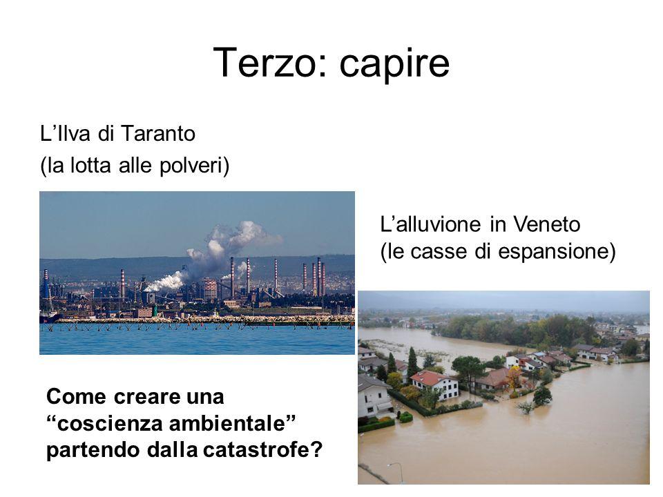 Terzo: capire LIlva di Taranto (la lotta alle polveri) Lalluvione in Veneto (le casse di espansione) Come creare una coscienza ambientale partendo dalla catastrofe