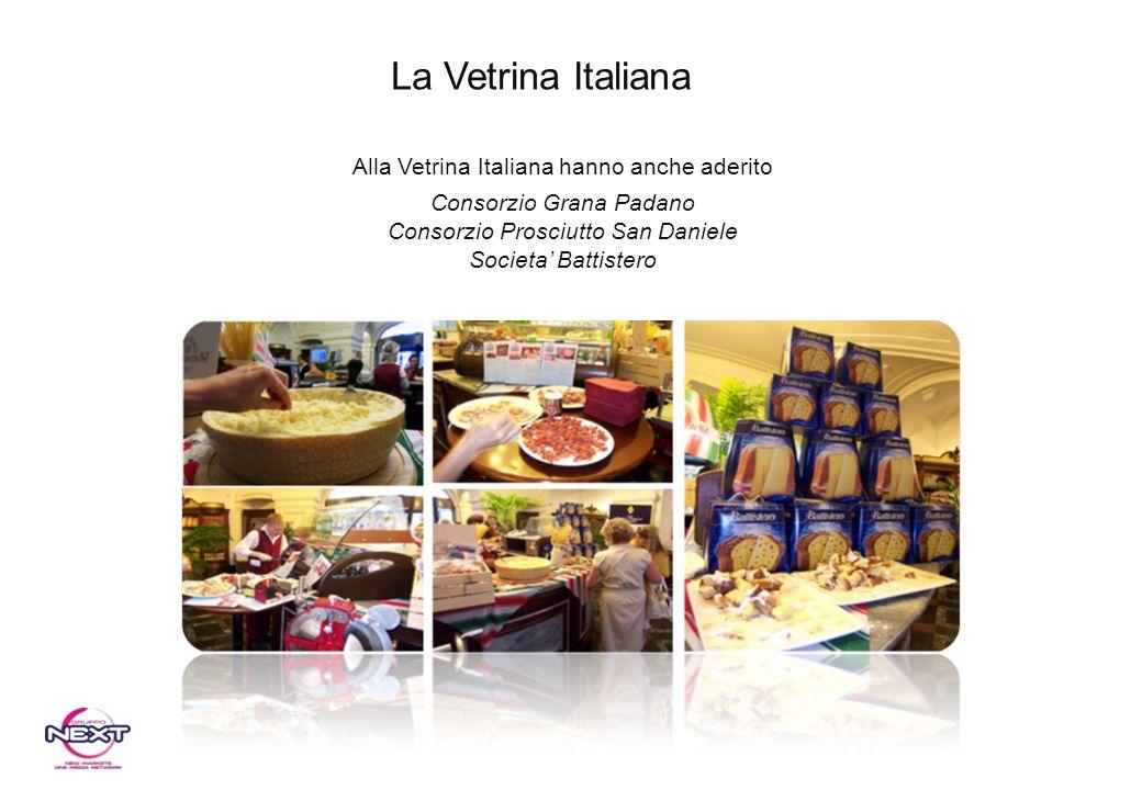 Alla Vetrina Italiana hanno anche aderito Consorzio Grana Padano Consorzio Prosciutto San Daniele Societa Battistero La Vetrina Italiana