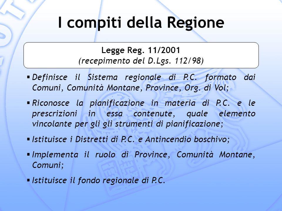 I compiti della Regione Definisce il Sistema regionale di P.C.