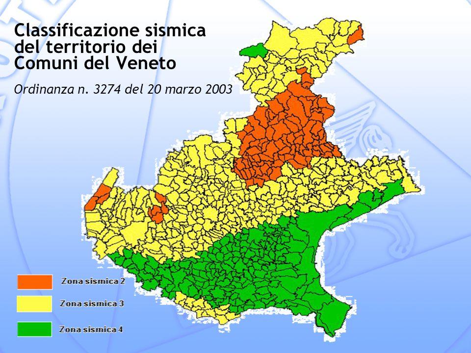 Classificazione sismica del territorio dei Comuni del Veneto Ordinanza n. 3274 del 20 marzo 2003