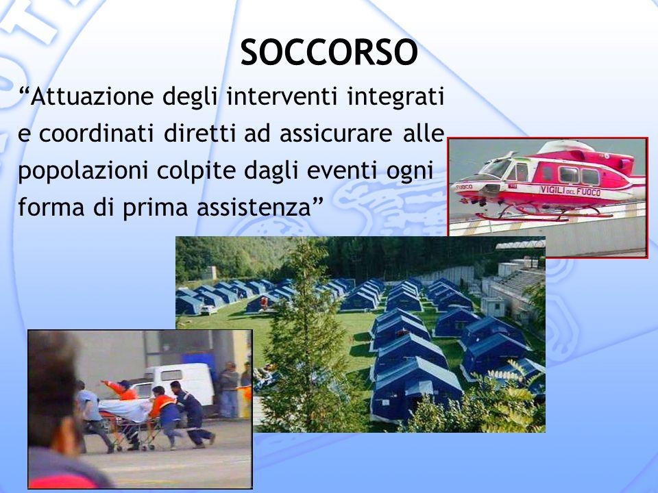SOCCORSO Attuazione degli interventi integrati e coordinati diretti ad assicurare alle popolazioni colpite dagli eventi ogni forma di prima assistenza