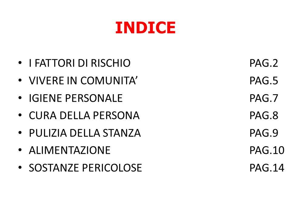 INDICE I FATTORI DI RISCHIO VIVERE IN COMUNITA IGIENE PERSONALE CURA DELLA PERSONA PULIZIA DELLA STANZA ALIMENTAZIONE SOSTANZE PERICOLOSE PAG.2 PAG.5