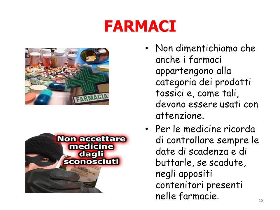 FARMACI Non dimentichiamo che anche i farmaci appartengono alla categoria dei prodotti tossici e, come tali, devono essere usati con attenzione. Per l