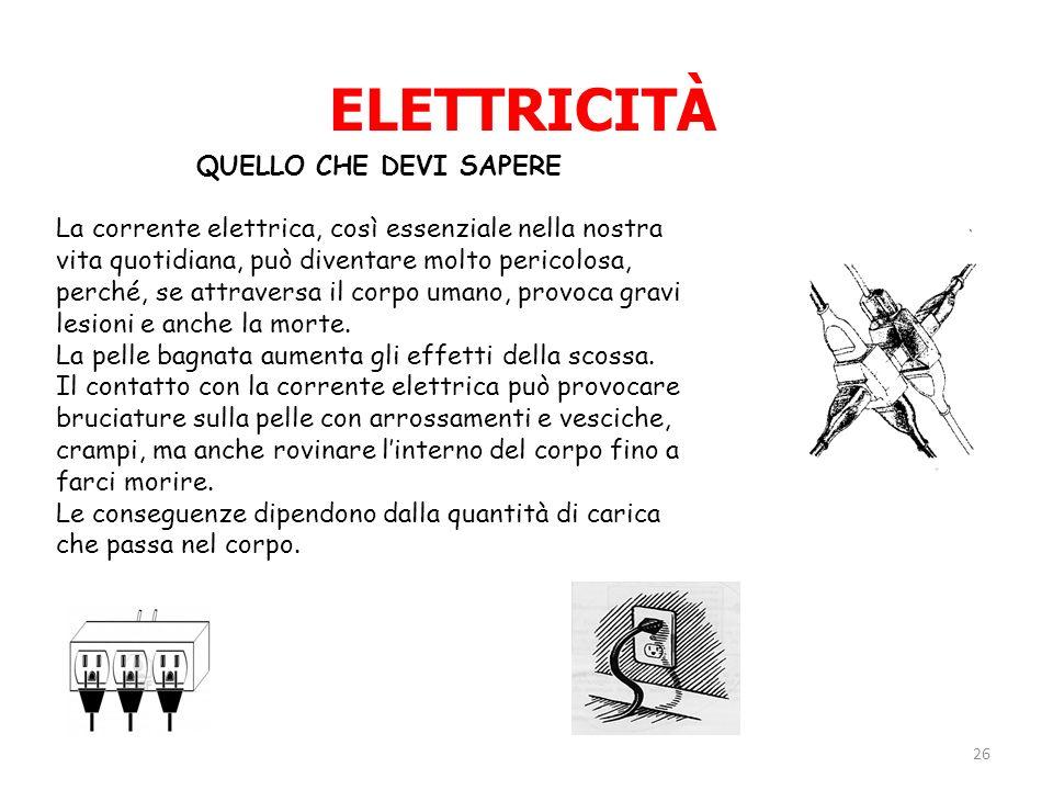 QUELLO CHE DEVI SAPERE La corrente elettrica, così essenziale nella nostra vita quotidiana, può diventare molto pericolosa, perché, se attraversa il c