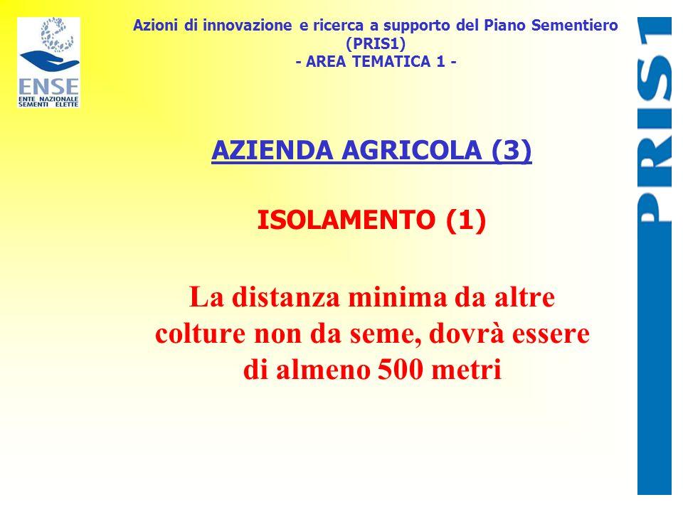Azioni di innovazione e ricerca a supporto del Piano Sementiero (PRIS1) - AREA TEMATICA 1 - AZIENDA AGRICOLA (3) ISOLAMENTO (1) La distanza minima da