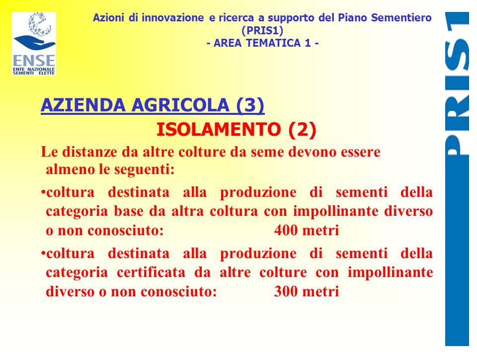 Azioni di innovazione e ricerca a supporto del Piano Sementiero (PRIS1) - AREA TEMATICA 1 - AZIENDA AGRICOLA (3) ISOLAMENTO (2) Le distanze da altre c