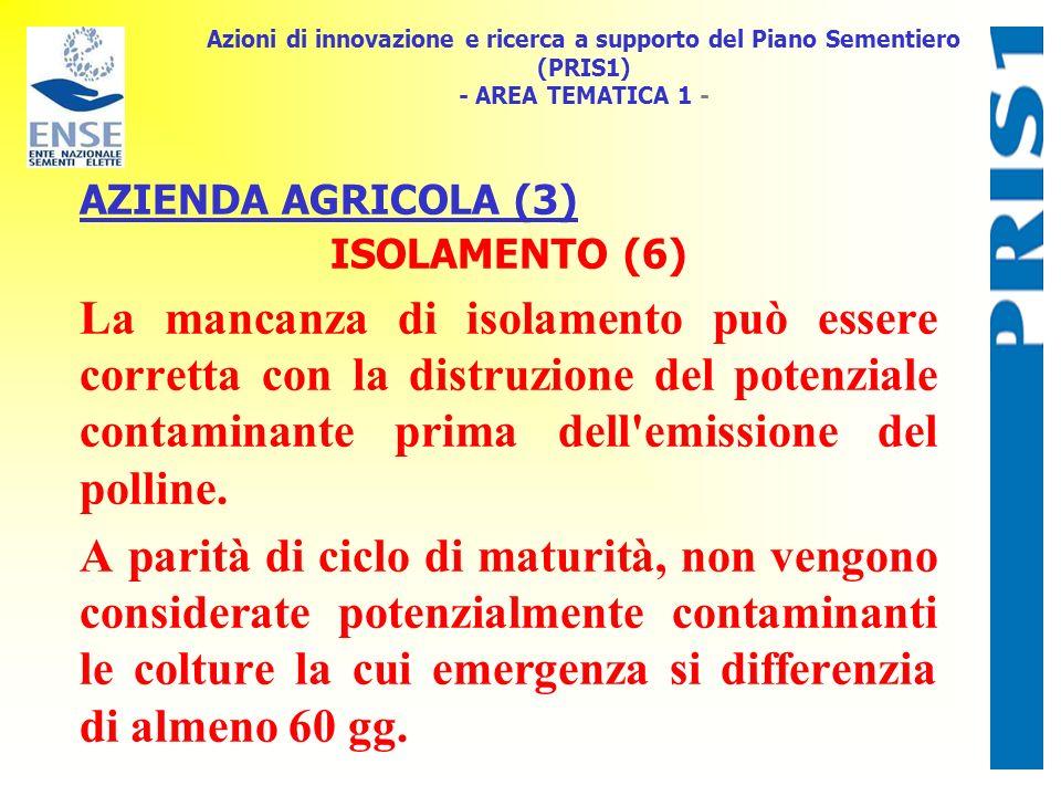 Azioni di innovazione e ricerca a supporto del Piano Sementiero (PRIS1) - AREA TEMATICA 1 - AZIENDA AGRICOLA (3) ISOLAMENTO (6) La mancanza di isolame