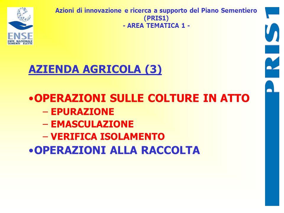Azioni di innovazione e ricerca a supporto del Piano Sementiero (PRIS1) - AREA TEMATICA 1 - AZIENDA AGRICOLA (3) OPERAZIONI SULLE COLTURE IN ATTO – EP