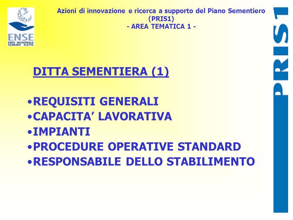 Azioni di innovazione e ricerca a supporto del Piano Sementiero (PRIS1) - AREA TEMATICA 1 - DITTA SEMENTIERA (1) REQUISITI GENERALI CAPACITA LAVORATIV