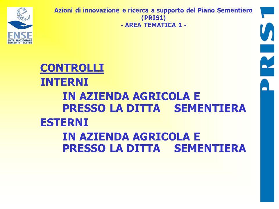 Azioni di innovazione e ricerca a supporto del Piano Sementiero (PRIS1) - AREA TEMATICA 1 - CONTROLLI INTERNI IN AZIENDA AGRICOLA E PRESSO LA DITTA SE
