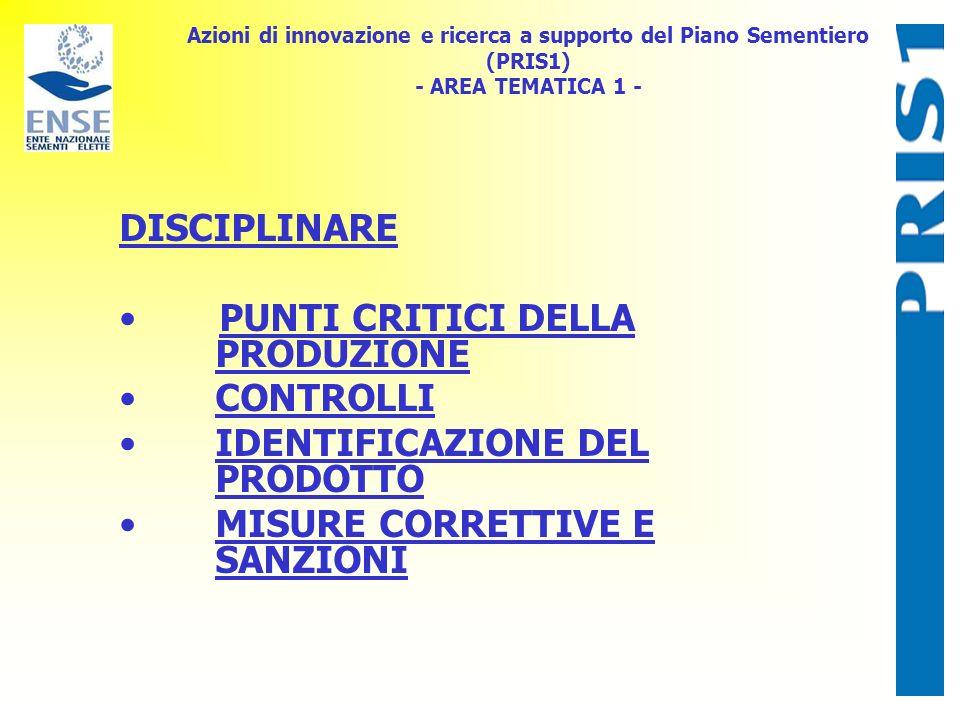 Azioni di innovazione e ricerca a supporto del Piano Sementiero (PRIS1) - AREA TEMATICA 1 - DISCIPLINARE PUNTI CRITICI DELLA PRODUZIONE CONTROLLI IDEN