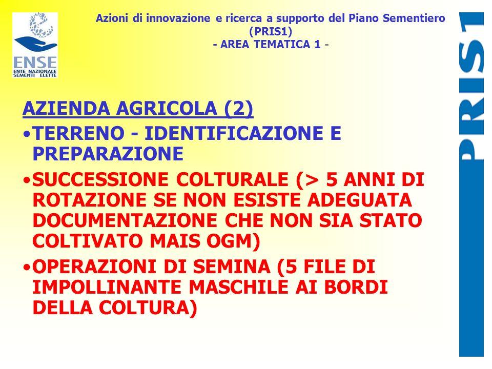 Azioni di innovazione e ricerca a supporto del Piano Sementiero (PRIS1) - AREA TEMATICA 1 - AZIENDA AGRICOLA (2) TERRENO - IDENTIFICAZIONE E PREPARAZI