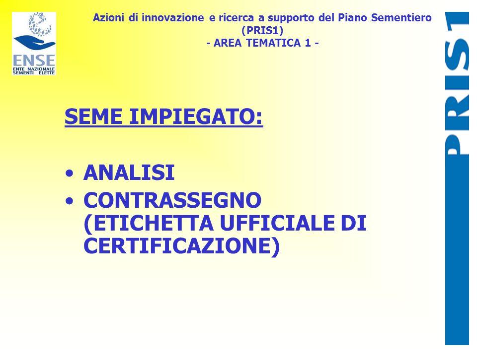 Azioni di innovazione e ricerca a supporto del Piano Sementiero (PRIS1) - AREA TEMATICA 1 - SEME IMPIEGATO: ANALISI CONTRASSEGNO (ETICHETTA UFFICIALE DI CERTIFICAZIONE)