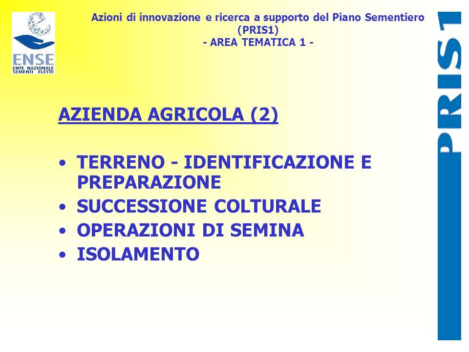 Azioni di innovazione e ricerca a supporto del Piano Sementiero (PRIS1) - AREA TEMATICA 1 - AZIENDA AGRICOLA (2) TERRENO - IDENTIFICAZIONE E PREPARAZIONE SUCCESSIONE COLTURALE OPERAZIONI DI SEMINA ISOLAMENTO