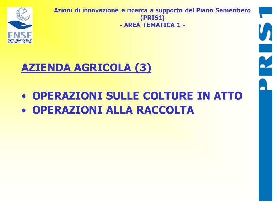 Azioni di innovazione e ricerca a supporto del Piano Sementiero (PRIS1) - AREA TEMATICA 1 - AZIENDA AGRICOLA (3) OPERAZIONI SULLE COLTURE IN ATTO OPERAZIONI ALLA RACCOLTA