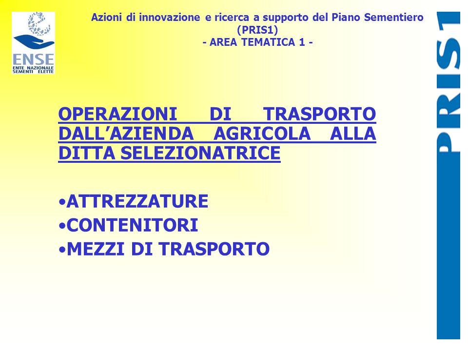 Azioni di innovazione e ricerca a supporto del Piano Sementiero (PRIS1) - AREA TEMATICA 1 - OPERAZIONI DI TRASPORTO DALLAZIENDA AGRICOLA ALLA DITTA SELEZIONATRICE ATTREZZATURE CONTENITORI MEZZI DI TRASPORTO