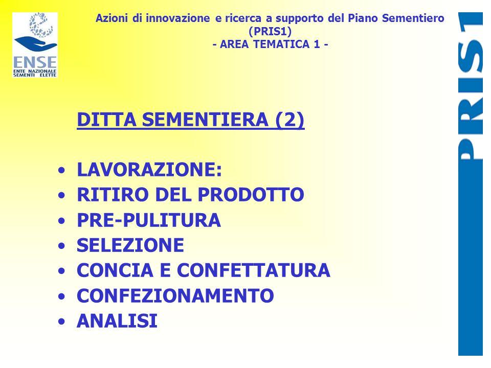 Azioni di innovazione e ricerca a supporto del Piano Sementiero (PRIS1) - AREA TEMATICA 1 - DITTA SEMENTIERA (2) LAVORAZIONE: RITIRO DEL PRODOTTO PRE-PULITURA SELEZIONE CONCIA E CONFETTATURA CONFEZIONAMENTO ANALISI
