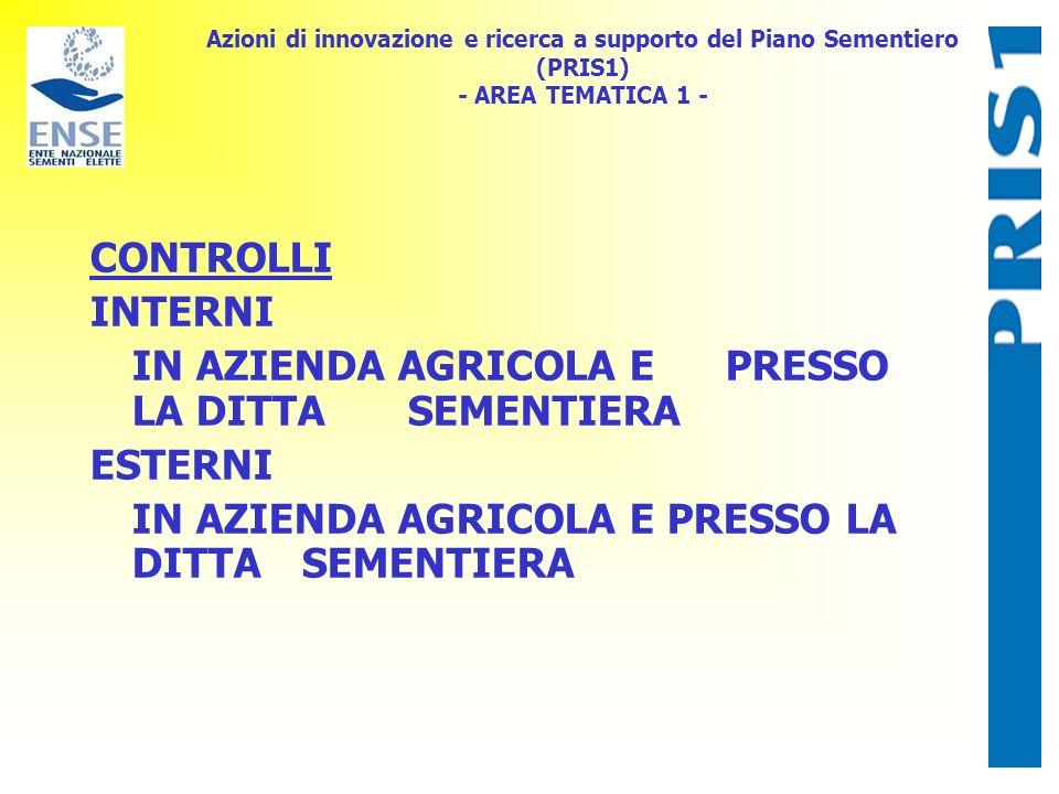 Azioni di innovazione e ricerca a supporto del Piano Sementiero (PRIS1) - AREA TEMATICA 1 - CONTROLLI INTERNI IN AZIENDA AGRICOLA E PRESSO LA DITTA SEMENTIERA ESTERNI IN AZIENDA AGRICOLA E PRESSO LA DITTA SEMENTIERA