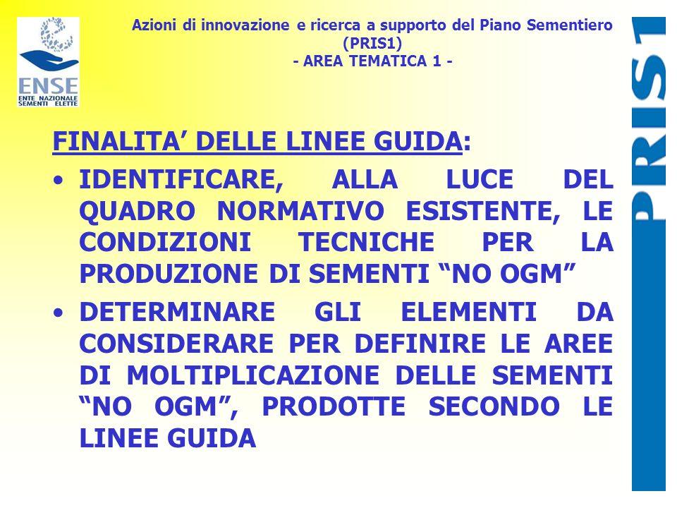 Azioni di innovazione e ricerca a supporto del Piano Sementiero (PRIS1) - AREA TEMATICA 1 - FINALITA DELLE LINEE GUIDA: IDENTIFICARE, ALLA LUCE DEL QUADRO NORMATIVO ESISTENTE, LE CONDIZIONI TECNICHE PER LA PRODUZIONE DI SEMENTI NO OGM DETERMINARE GLI ELEMENTI DA CONSIDERARE PER DEFINIRE LE AREE DI MOLTIPLICAZIONE DELLE SEMENTI NO OGM, PRODOTTE SECONDO LE LINEE GUIDA