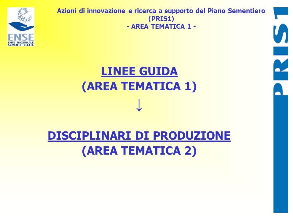 Azioni di innovazione e ricerca a supporto del Piano Sementiero (PRIS1) - AREA TEMATICA 1 - LINEE GUIDA (AREA TEMATICA 1) DISCIPLINARI DI PRODUZIONE (AREA TEMATICA 2)