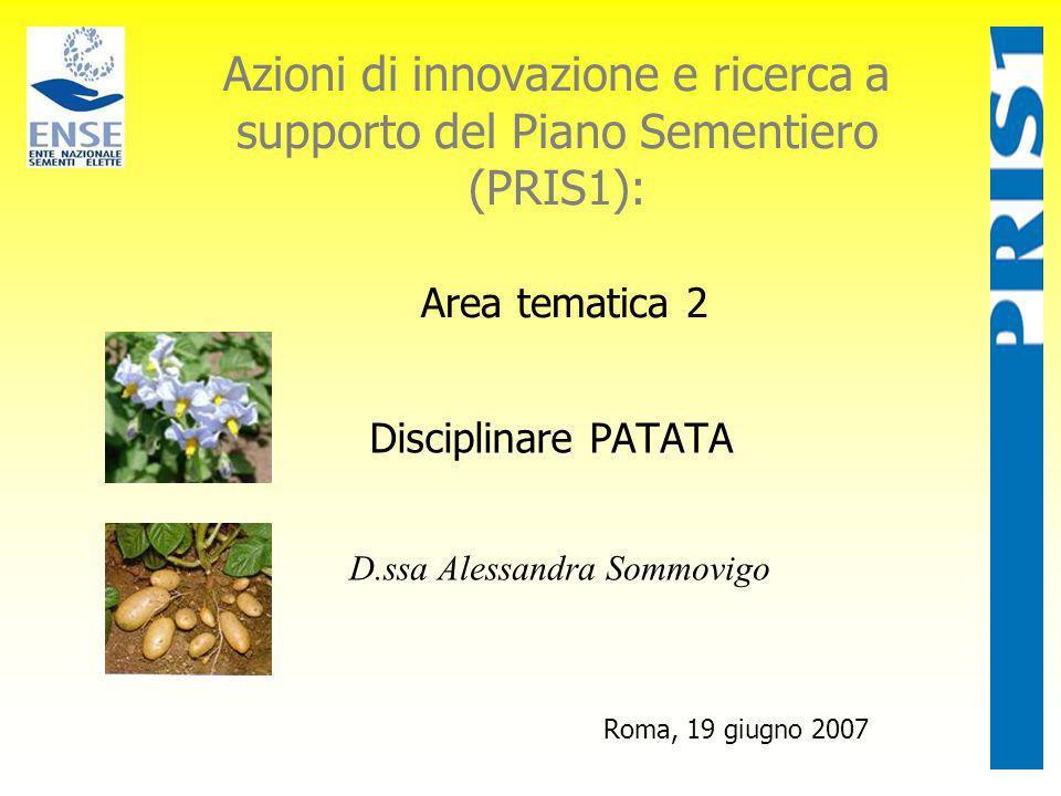 Azioni di innovazione e ricerca a supporto del Piano Sementiero (PRIS1): Area tematica 2 Disciplinare PATATA Roma, 19 giugno 2007 D.ssa Alessandra Som