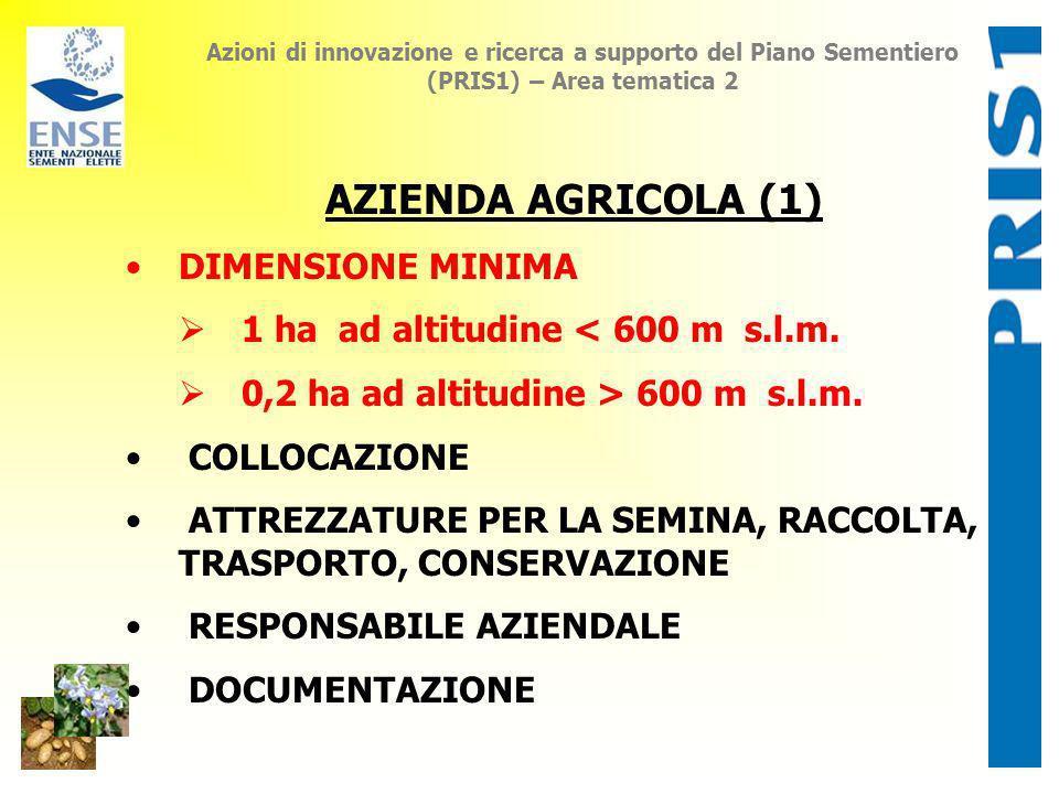 Azioni di innovazione e ricerca a supporto del Piano Sementiero (PRIS1) – Area tematica 2 AZIENDA AGRICOLA (1) DIMENSIONE MINIMA 1 ha ad altitudine <