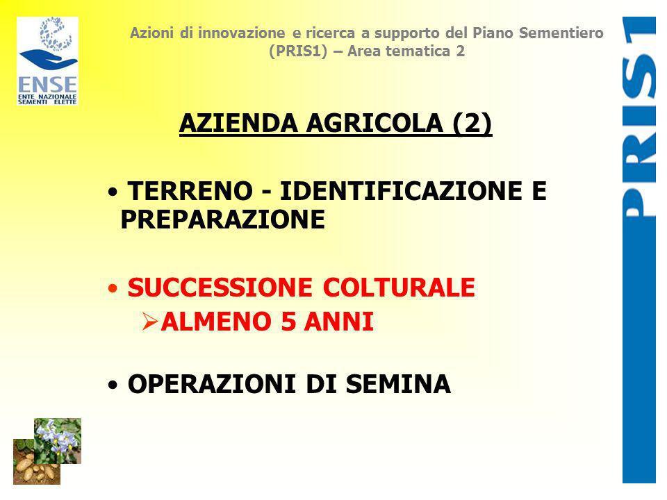 Azioni di innovazione e ricerca a supporto del Piano Sementiero (PRIS1) – Area tematica 2 AZIENDA AGRICOLA (2) TERRENO - IDENTIFICAZIONE E PREPARAZION