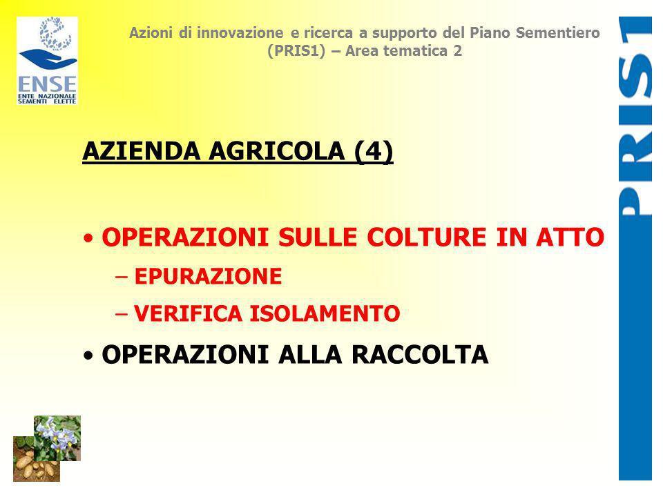 Azioni di innovazione e ricerca a supporto del Piano Sementiero (PRIS1) – Area tematica 2 AZIENDA AGRICOLA (4) OPERAZIONI SULLE COLTURE IN ATTO – EPUR