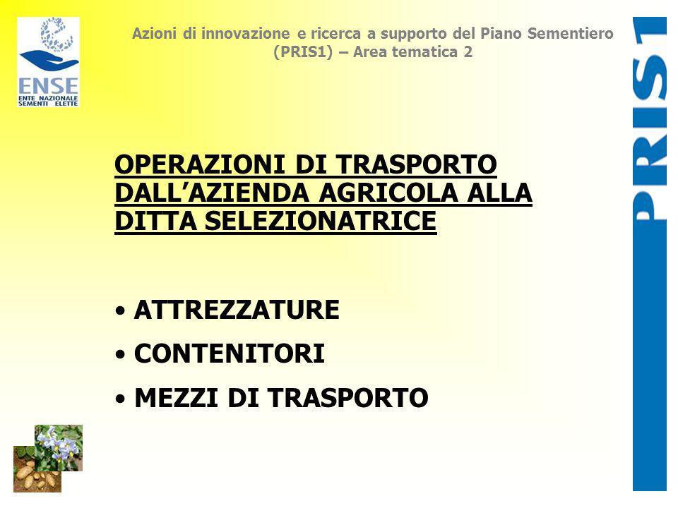 Azioni di innovazione e ricerca a supporto del Piano Sementiero (PRIS1) – Area tematica 2 OPERAZIONI DI TRASPORTO DALLAZIENDA AGRICOLA ALLA DITTA SELE