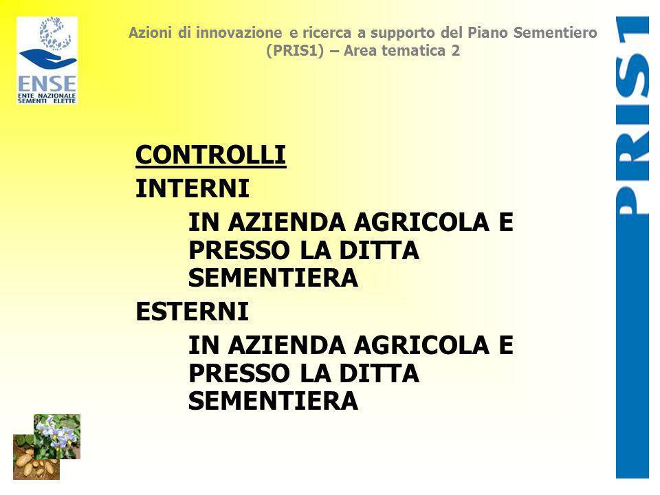 Azioni di innovazione e ricerca a supporto del Piano Sementiero (PRIS1) – Area tematica 2 CONTROLLI INTERNI IN AZIENDA AGRICOLA E PRESSO LA DITTA SEME