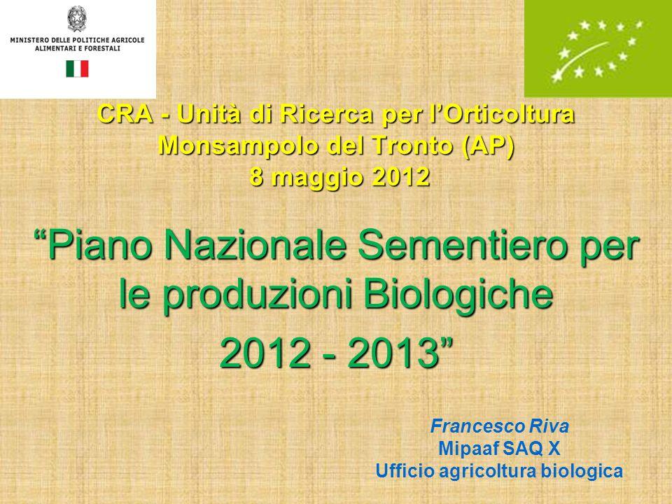 CRA - Unità di Ricerca per lOrticoltura Monsampolo del Tronto (AP) 8 maggio 2012 Piano Nazionale Sementiero per le produzioni Biologiche 2012 - 2013 F