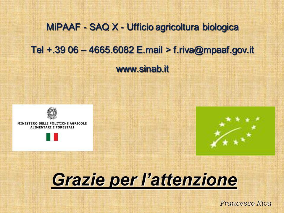 MiPAAF - SAQ X - Ufficio agricoltura biologica Tel +.39 06 – 4665.6082 E.mail > f.riva@mpaaf.gov.it www.sinab.it Grazie per lattenzione Francesco Riva