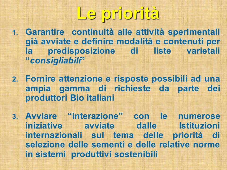 Le priorità 1. Garantire continuità alle attività sperimentali già avviate e definire modalità e contenuti per la predisposizione di liste varietalico