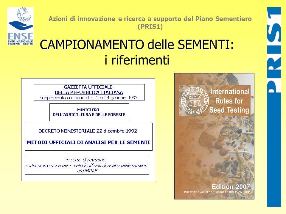 Azioni di innovazione e ricerca a supporto del Piano Sementiero (PRIS1) CAMPIONAMENTO delle SEMENTI CAMPIONAMENTO delle SEMENTI: i riferimenti