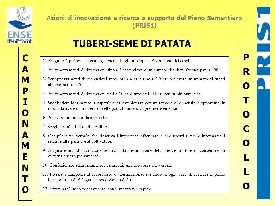 Azioni di innovazione e ricerca a supporto del Piano Sementiero (PRIS1) CAMPIONAMENTOCAMPIONAMENTO PROTOCOLLOPROTOCOLLO TUBERI-SEME DI PATATA 1.Esegui