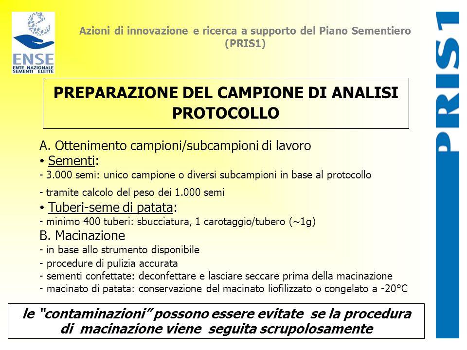 Azioni di innovazione e ricerca a supporto del Piano Sementiero (PRIS1) PREPARAZIONE DEL CAMPIONE DI ANALISI PROTOCOLLO A. Ottenimento campioni/subcam
