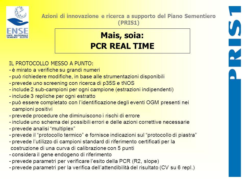 Azioni di innovazione e ricerca a supporto del Piano Sementiero (PRIS1) Mais, soia: PCR REAL TIME IL PROTOCOLLO MESSO A PUNTO: -è mirato a verifiche s