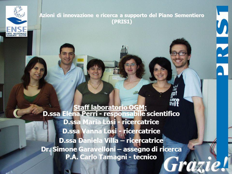 Staff laboratorio OGM: D.ssa Elena Perri - responsabile scientifico D.ssa Maria Losi - ricercatrice D.ssa Vanna Losi - ricercatrice D.ssa Daniela Vill