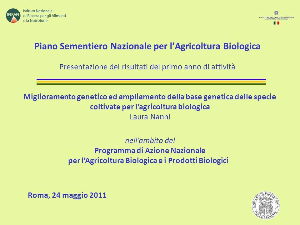 Piano Sementiero Nazionale per lAgricoltura Biologica Presentazione dei risultati del primo anno di attività Roma, 24 maggio 2011 Miglioramento geneti