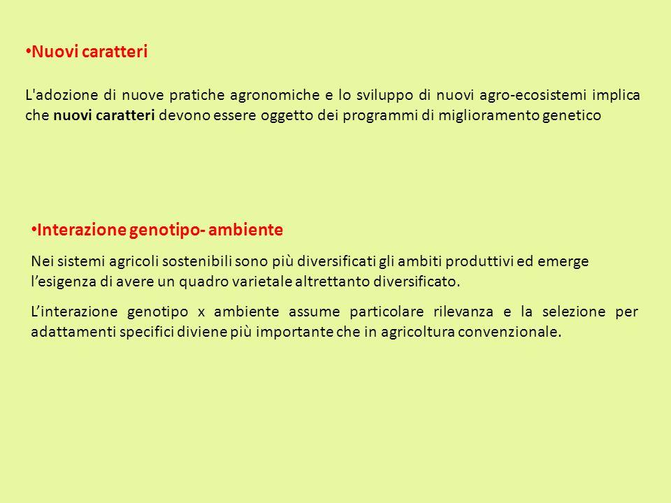 Interazione genotipo- ambiente Nei sistemi agricoli sostenibili sono più diversificati gli ambiti produttivi ed emerge lesigenza di avere un quadro va