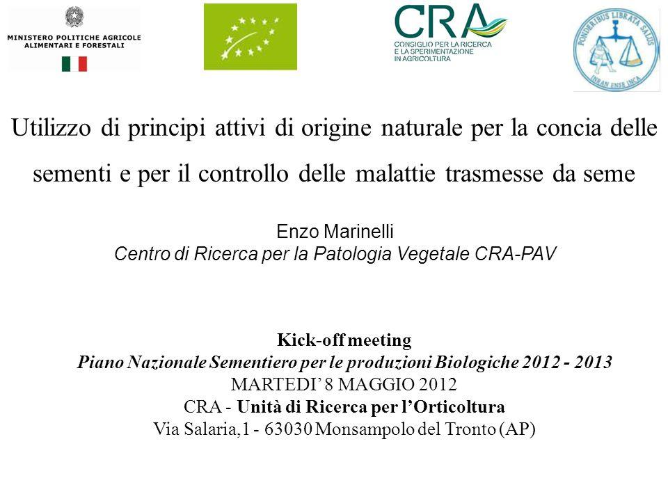 Utilizzo di principi attivi di origine naturale per la concia delle sementi e per il controllo delle malattie trasmesse da seme Kick-off meeting Piano