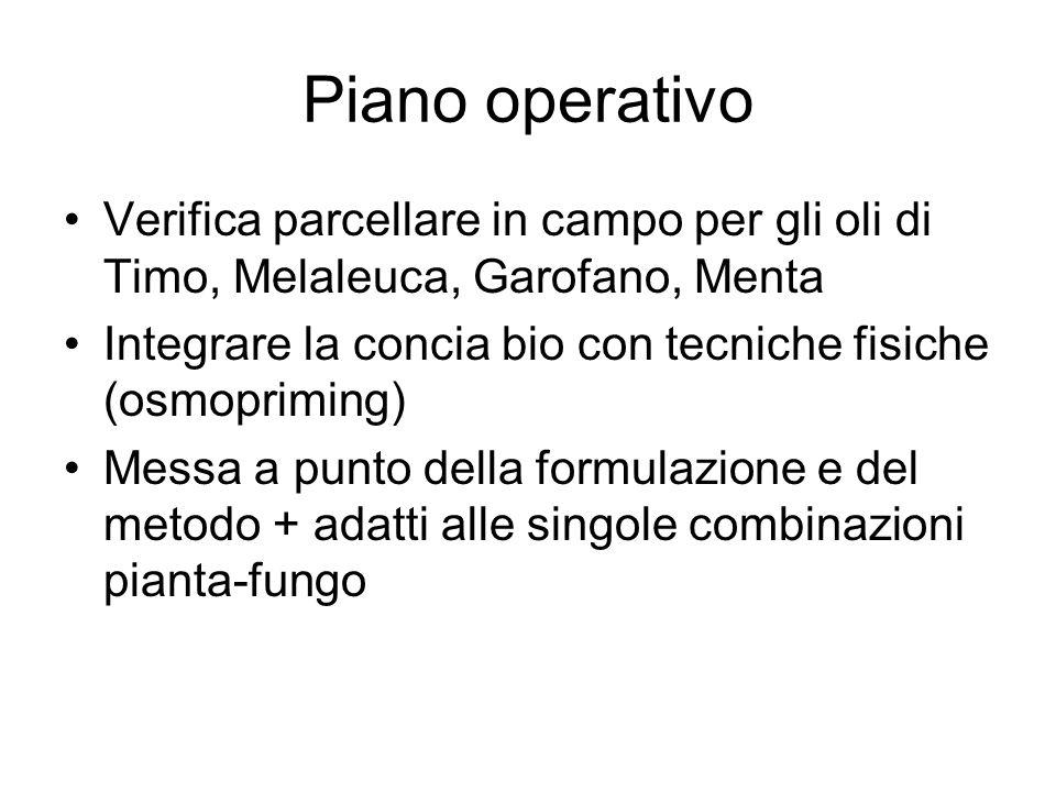 Piano operativo Verifica parcellare in campo per gli oli di Timo, Melaleuca, Garofano, Menta Integrare la concia bio con tecniche fisiche (osmopriming