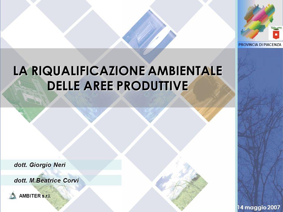 PROVINCIA DI PIACENZA 14 maggio 2007 AMBITER s.r.l. dott. Giorgio Neri LA RIQUALIFICAZIONE AMBIENTALE DELLE AREE PRODUTTIVE dott. M.Beatrice Corvi