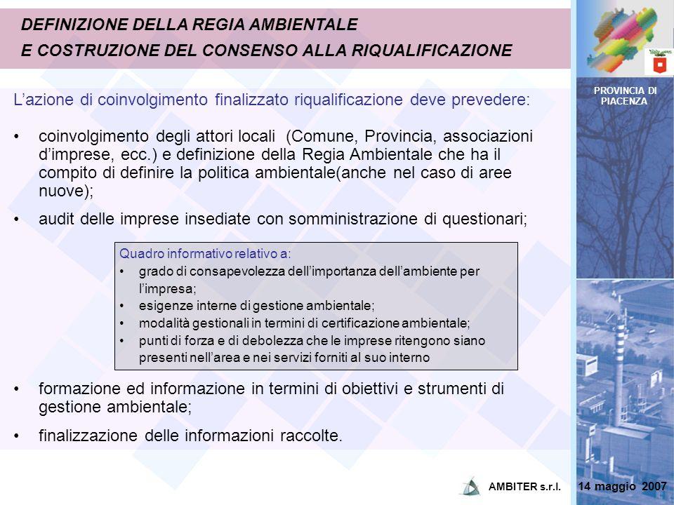 PROVINCIA DI PIACENZA DEFINIZIONE DELLA REGIA AMBIENTALE E COSTRUZIONE DEL CONSENSO ALLA RIQUALIFICAZIONE Lazione di coinvolgimento finalizzato riqual
