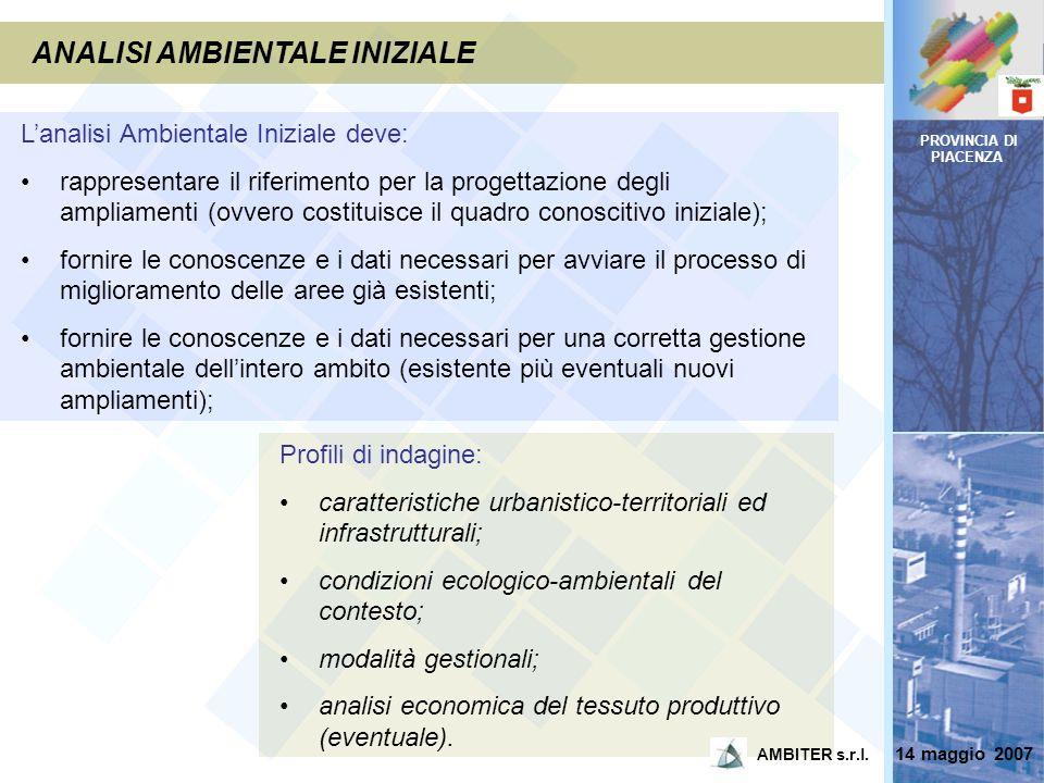 PROVINCIA DI PIACENZA ANALISI AMBIENTALE INIZIALE Lanalisi Ambientale Iniziale deve: rappresentare il riferimento per la progettazione degli ampliamen