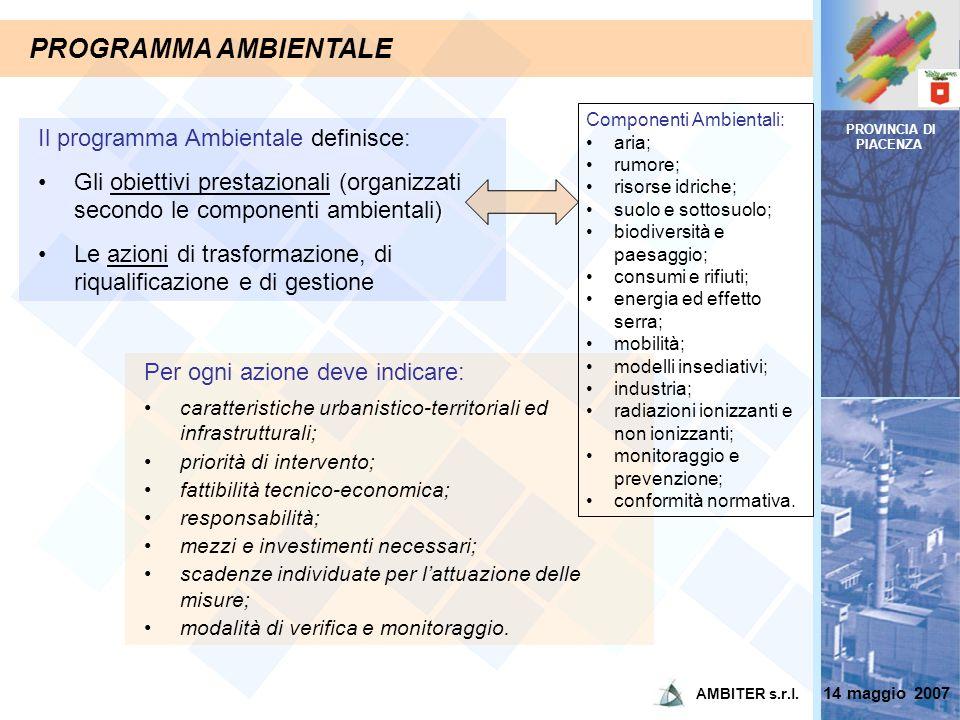 PROVINCIA DI PIACENZA PROGRAMMA AMBIENTALE Il programma Ambientale definisce: )Gli obiettivi prestazionali (organizzati secondo le componenti ambienta