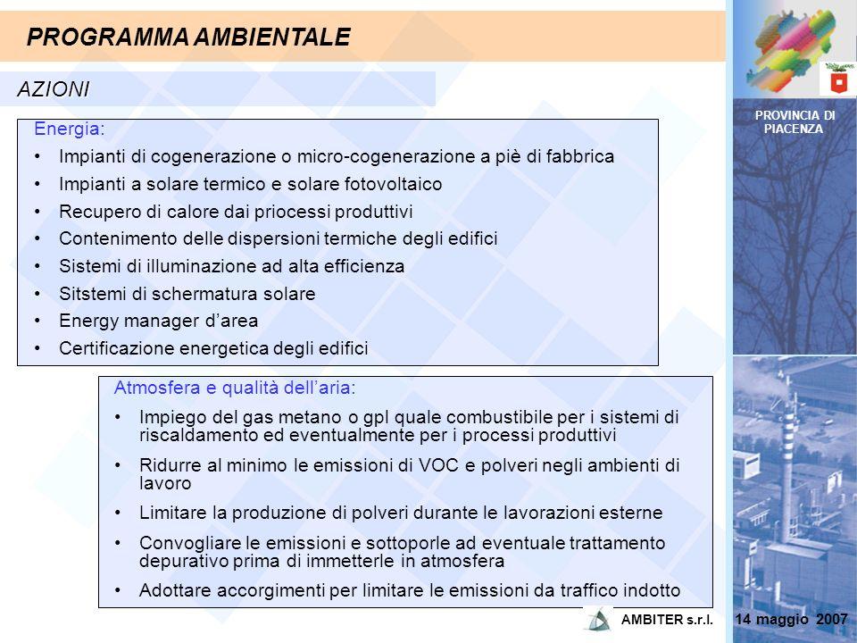 PROVINCIA DI PIACENZA PROGRAMMA AMBIENTALE AZIONI Atmosfera e qualità dellaria: Impiego del gas metano o gpl quale combustibile per i sistemi di risca